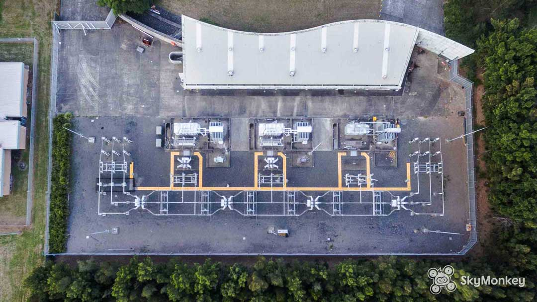 Asset inspection from the air using drones, of a power substation in Sydney.